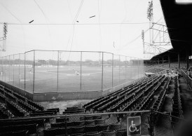 Rickwood Field- view of the playing field from behind the backstop, looking toward the pitcher's mound. (Photograph by Jet Lowe, Historic American Buildings Survey, Library of Congress Prints and Photographs Division)