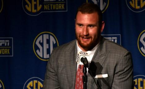 Arkansas offensive lineman Frank Ragnow talks to the media. (Solomon Crenshaw Jr. / Alabama NewsCenter)