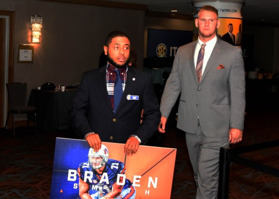 Auburn offensive lineman Braden Smith begins his SEC Media Day rotation. (Solomon Crenshaw Jr. / Alabama NewsCenter)