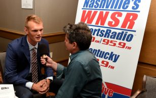 Auburn kicker Daniel Carlson does a radio interview at SEC Media Days. (Solomon Crenshaw Jr. / Alabama NewsCenter)