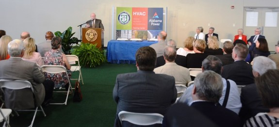 Jimmy Baker, ACCS chancellor, speaks during the ceremony. (Karim Shamsi-Basha / Alabama NewsCenter)