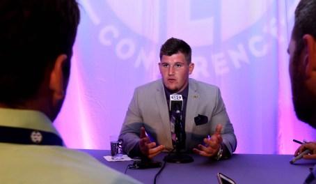 LSU defensive end Christian LaCouture at SEC Media Days. (Solomon Crenshaw Jr. / Alabama NewsCenter)
