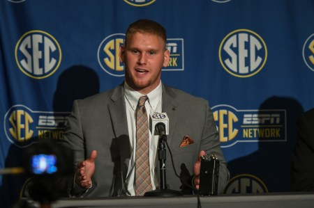 Auburn offensive lineman Braden Smith talks to the media at SEC Media Days. (Wade Rackley/Auburn Athletics)
