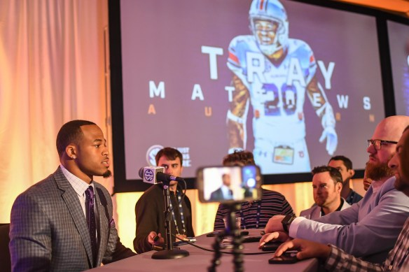 Auburn defensive back talks to the media at SEC Media Days. (Wade Rackley/Auburn Athletics)