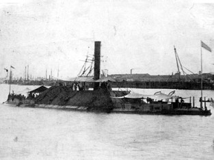 USS Tennessee, ca. 1865. The Confederate ironclad warship CSS Tennessee was built in Selma and saw action in the Battle of Mobile Bay in August 1864. The ship was surrendered to the Union Navy in that battle and recommissioned the USS Tennessee and employed in the capture of Fort Morgan on August 23, 1864. (From Encyclopedia of Alabama, Courtesy of U.S. Naval Historical Center)