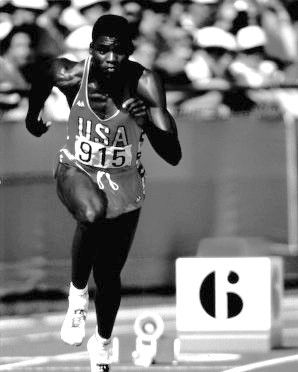 Carl Lewis at the 1984 Olympics held in Los Angeles, CA. (University of Houston Libraries Special Collections, University of Houston, KUHT, Wikipedia)