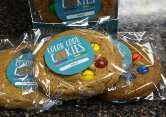 "Each package of Color Code Cookies sums it up this way: ""Good cookies. Good cause."" (Karim Shamsi-Basha/Alabama NewsCenter)"