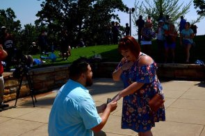 Jeffrey Payne proposed to Baylie Kizziah during the eclipse at Vulcan Park. (Karim Shamsi-Basha / Alabama NewsCenter)