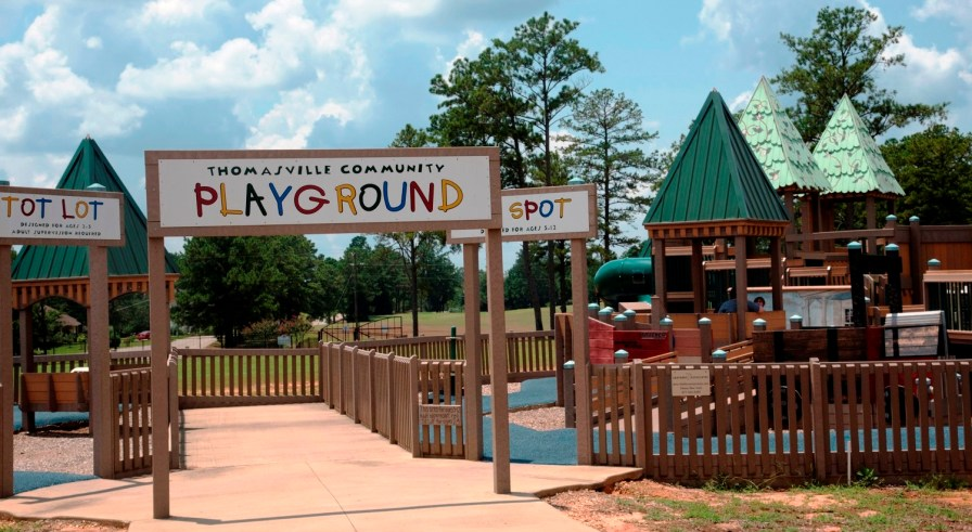 Hard-working volunteers enabled Thomasville to construct a first-class playground for its children. (Brittany Faush-Johnson/Alabama NewsCenter)