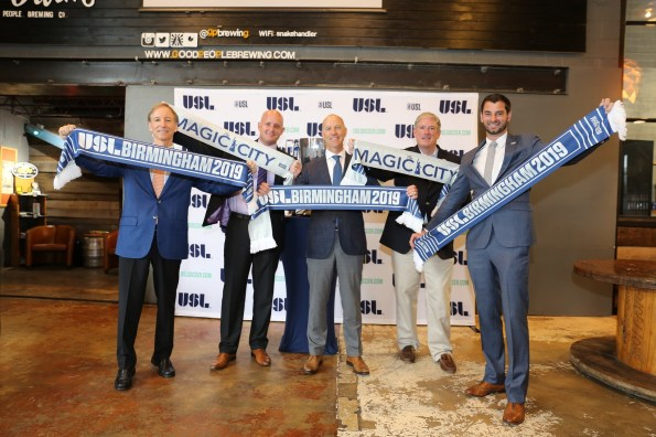 Officials celebrate Birmingham's new USL team. (contributed)