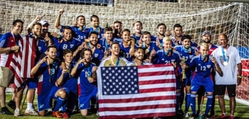 The USA team coached by Birmingham's Preston Goldfarb celebrates its gold medal in the 2017 World Maccabiah Games. (Contributed)