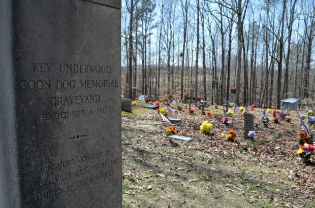 A monument donated by Russellville Cut Stone stands in teh Key Underwood Coon Dog Memorial Graveyard, better known as the Coon Dog Cemetery. (Anne Kristoff / Alabama NewsCenter)