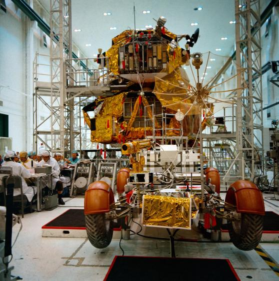 (21 April 1971) – An overall view of the Apollo 14 Lunar Roving Vehicle (LRV) and the Lunar Module (LM) during simulations at the Kennedy Space Center. (NASA)
