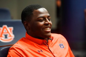 Dontavius Russell at the first day of Auburn football practice on Monday. (Wade Rackley/Auburn Athletics)