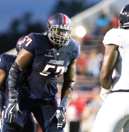 Jaguars left tackle Noah Fisher is one of the South Alabama playmakers. (Mike Kittrell)