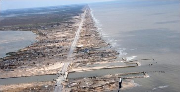 Storm-surge damage to the Texas coast after Hurricane Ike in 2008. (NOAA)