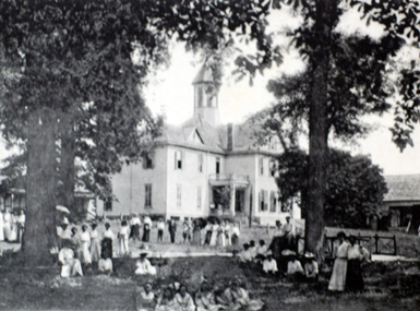 Alabama Normal College in Livingston eventually became the University of West Alabama. It was founded in 1835 as Livingston Female Academy. Jones Hall is in the background. (From Encyclopedia of Alabama, Courtesy of Alabama Department of Archives and History)