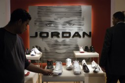 Nke's Air Jordan brand is something rappers and singers still point out in songs. (Michael Nagle/Bloomberg)