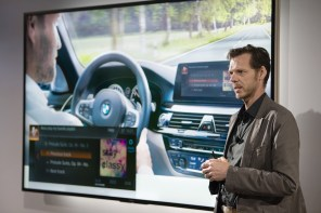Thom Brenner, vice president of connected car services at Bayerische Motoren Werke AG (BMW), speaks during an Amazon.com Inc. product reveal launch event on Wednesday. (Daniel Berman/Bloomberg)