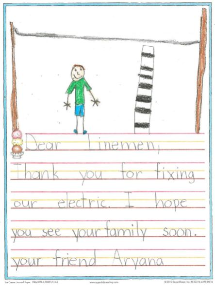 """Students from Palmetto Charter School in Manatee County drew pictures and wrote """"thank you"""" notes to Alabama Power crews working in Florida after Hurricane Irma. (contributed)"""