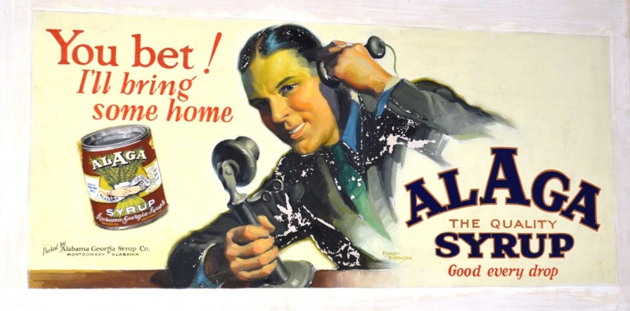 Advertising like this for Alaga syrup was once found everywhere throughout the South. (Michael Tomberlin /Alabama NewsCenter)