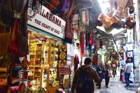 The Heart of Dixie Alabama shop gets attention on the streets of Jerusalem. College football fans and Conan O'Brien are among those to take notice. (Karim Shamsi-Basha / Alabama NewsCenter)