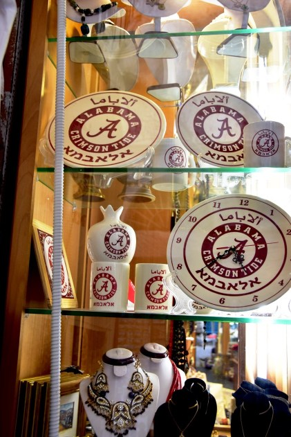 The Alabama logo with Hebrew writing is found on merchandise throughout Hani Imam's Jerusalem shop. (Karim Shamsi-Basha / Alabama NewsCenter)