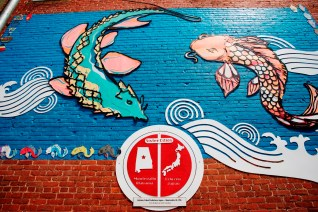 Murals, such as this one celebrating a partnership with a Japanese sister city, are part of a conscious effort to demonstrate that Montevallo is an arts-friendly community. (Brittany Faush-Johnson/Alabama NewsCenter)