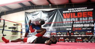 Deontay Wilder works out in Skyy Gym in Northport as he prepares to defend his WBC title again. (Solomon Crenshaw Jr. / Alabama NewsCenter)