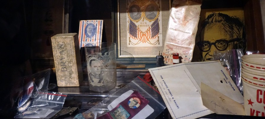 Part of Pappas's collection of political paraphernalia. (Erin Harney/Alabama NewsCenter)