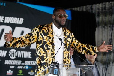 """Deontay Wilder at the press conference announcing the bout with Louis """"King Kong"""" Ortiz. (Ed Diller/Showtime)"""