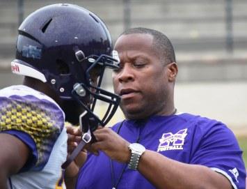 Miles College Head Football Coach Reginald Ruffin prepares his team for its season opener. (Solomon Crenshaw Jr./Alabama NewsCenter)