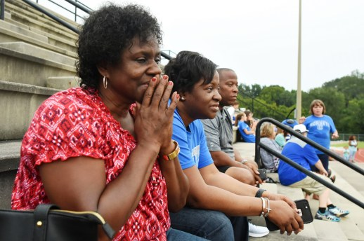 The members of Team Ruffin watch Gabriel Ruffin's high school debut, his first game since he lost his mom and biggest cheerleader. (Solomon Crenshaw Jr./Alabama NewsCenter)