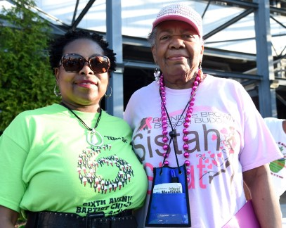 Event organizers Vevelyn Wilson (left) and Brenda J. Phillips Hong pose during the Brenda's Brown Bosom Buddies Fifth Annual Sistah Strut at Legion Field in Birmingham last year. (Photo by Mark Almond)