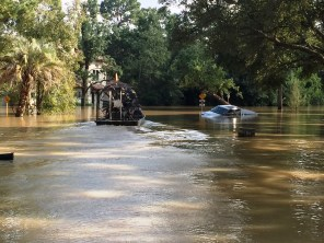 The devastating flooding from Hurricane Harvey has made it difficult for power restoration crews to access some areas. (Jason Carlee/Alabama Power)
