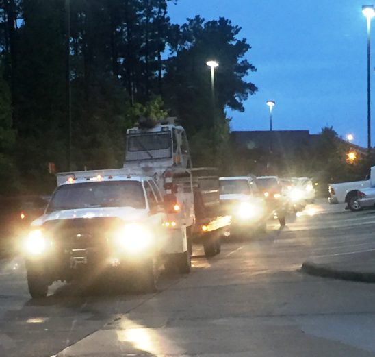Alabama Power crews left Shreveport early on the morning of Aug. 31 and arrived in Texas later that day. They have been hard at work along with CenterPoint Energy ever since. (Jason Carlee/Alabama Power)
