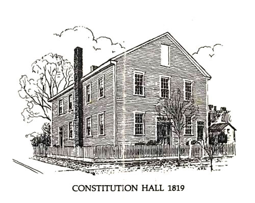 Constitution Hall, show here in this line drawing, was located in Huntsville and was the site where Alabama's first state constitution was signed in 1819. A replica of the building now stands on the same spot in the Alabama Constitution Village living-history park. (From Encyclopedia of Alabama, Photo courtesy of the Alabama Department of Archives and History)