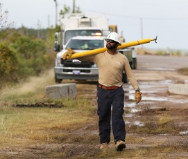 Alabama Power crew members work to restore service to thousands of customers after Hurricane Nate. (Mike Kittrell / Alabama NewsCenter)