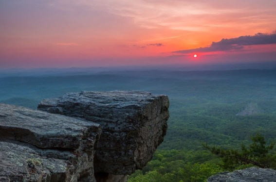 Mount Cheaha, Alabama's highest point, offers spectacular views of the sunset. (Alabama State Parks)