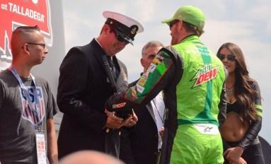 Dale Earnhardt Jr. greets officials. (Karim Shamsi-Basha / Alabama NewsCenter)