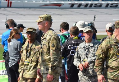 Members of the military attend Sunday's Alabama 500, where patriotic displays were abundant. (Karim Shamsi-Basha / Alabama NewsCenter)