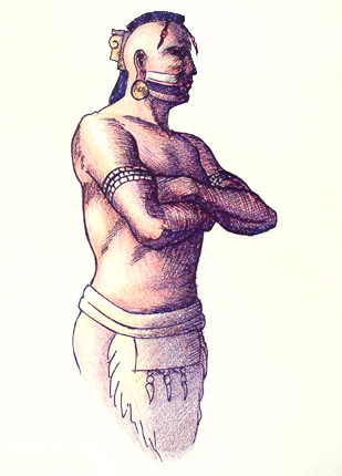 Artwork depicting Mississippian Chief Tuscaloosa, 1540. (Herb Roe, Wikipedia)