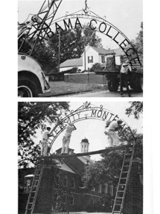 Workers remove the Alabama College sign from the entrance of the campus and replace it with the new University of Montevallo name in September 1969. (From Encyclopedia of Alabama, courtesy of University of Montevallo)
