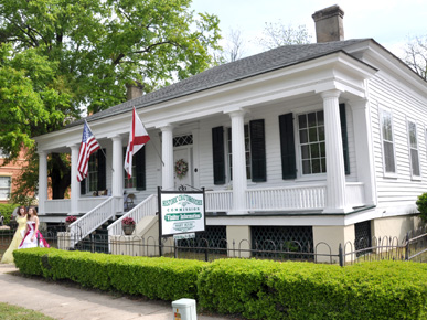 The Hart House in Eufaula, Barbour County, is the headquarters of the Historic Chattahoochee Commission. The Greek Revival home was built around 1950 by merchant and planter John Hart; it is listed on the National Register of Historic Places. (From Encyclopedia of Alabama, courtesy of the Historic Chattahoochee Commission)