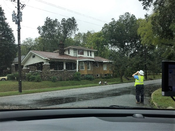 Alabama Power evaluator Sherri Morgan inspects infrastructure after Hurricane Nate. (Tammie Griffin)