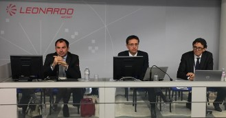 Leonardo executives brief the Alabama delegation before a tour of the company's aircraft factory in Venegono Superiore, Italy. (Made in Alabama)