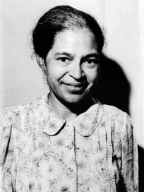 """Alabamian Rosa Parks (1913-2005) is renowned as """"the mother of the civil rights movement."""" Her arrest for refusing to give up her seat to a white man on a Montgomery bus in 1955 became a rallying point for the emerging civil rights movement in Alabama. Parks has been honored by presidents and received numerous awards, including the Congressional Gold Medal. (From Encyclopedia of Alabama, photo courtesy of the Library of Congress)"""
