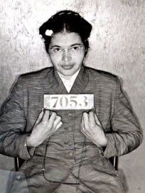 This mug shot of Rosa Parks was taken when she was arrested in February 1956 for protesting during the Montgomery bus boycott. The image was discovered in 2004 when a Montgomery County chief deputy found it in storage. (From Encyclopedia of Alabama, photo courtesy of Montgomery County Archives)