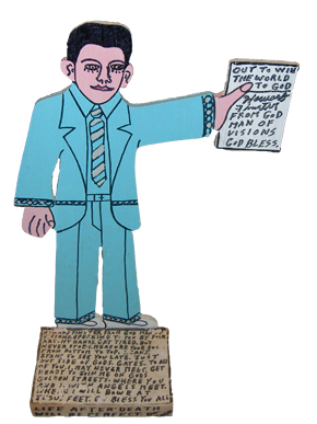 A cut-out self portrait of folk artist Howard Finster (1916-2001), whose commercial and religious artwork gained him fame during the 1980s and 1990s. (From Encyclopedia of Alabama, courtesy of Joey Brackner)