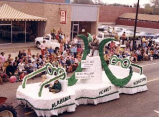 "This float from the 1970 National Peanut Festival parade carries the ""Peanut Farmer of the Year."" (From Encyclopedia of Alabama, courtesy of Archives of Wiregrass History and Culture, Troy University)"